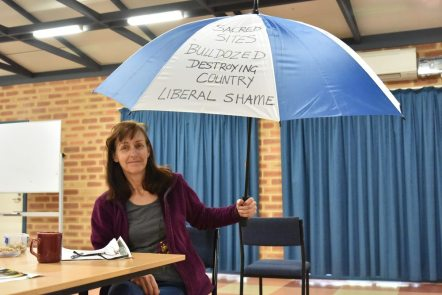 Denyse-McNish-with-protest-umbrella-photo-D-Mc-Dougie-2017